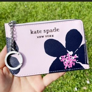 Kate Spade Flora Card Holder Small Key Ring Wallet